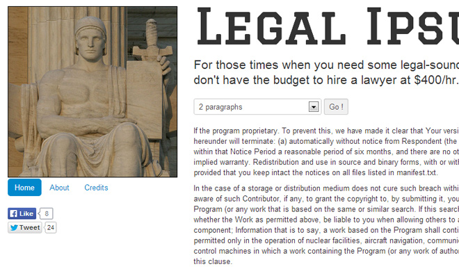 legal policy text lorem ipsum generator