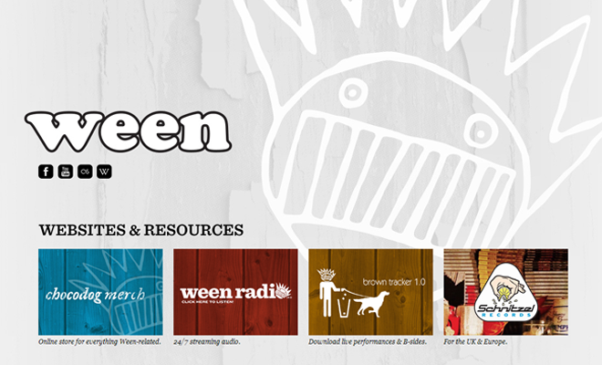 ween rock band website layout