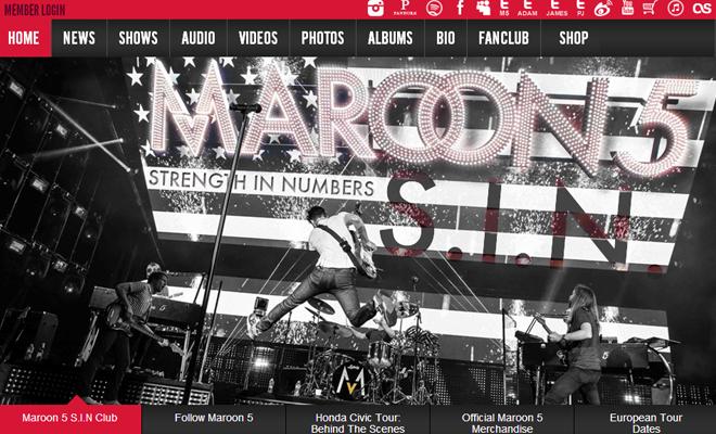 maroon 5 website design homepage layout