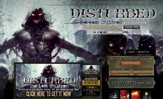 dusturbed metal band website homepage