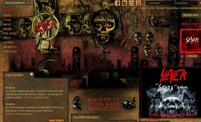 slayer metal band website homepage