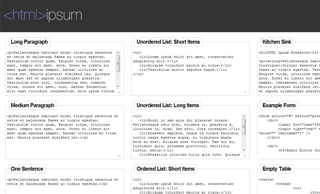 html ipsum design homepage writing ui inspiration