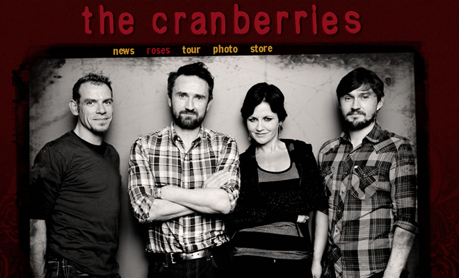 the cranberries band website layout