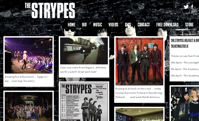 the strypes band website design