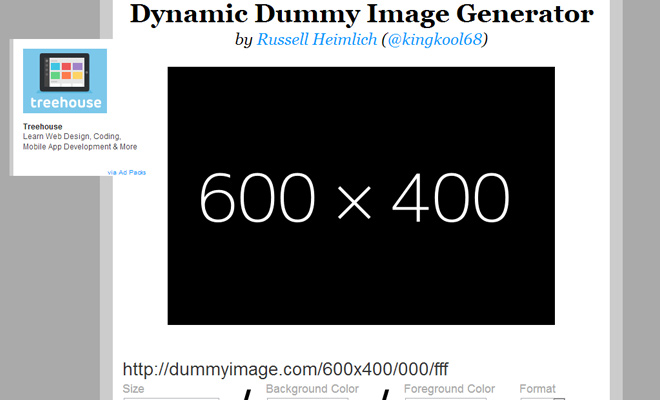 dummy text image generator webapp ui screenshot 2014