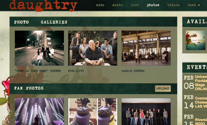 daughtry band website photos gallery layout