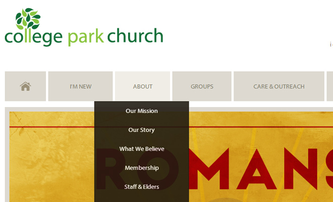 college park church your design navigation dropdown