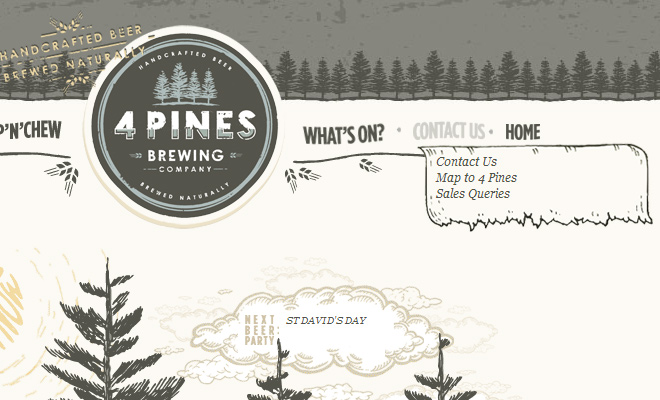four pines beer website navigation textured