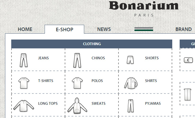 bonarium dropdown shop navigation menu design