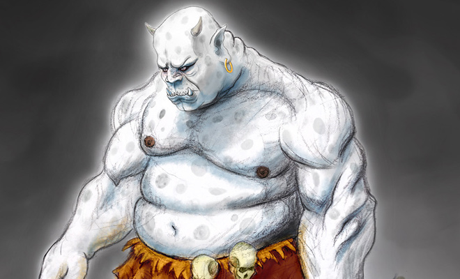white demon orc photoshop illustration