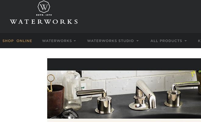 water works website dark navigation ui