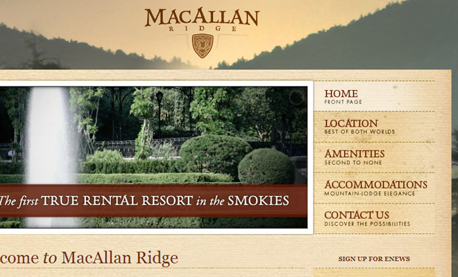 macallan ridge website navigation ui design