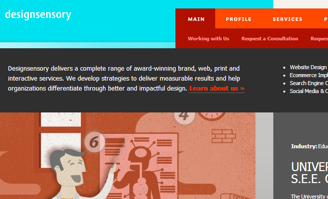 design sensory website layout inspiration navigation