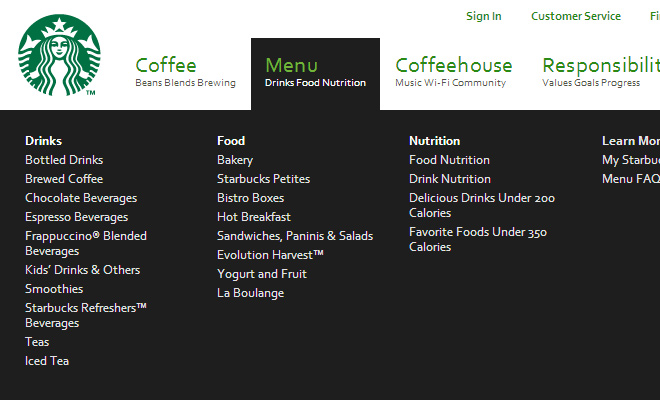 green starbucks navigation menu dropdown layout