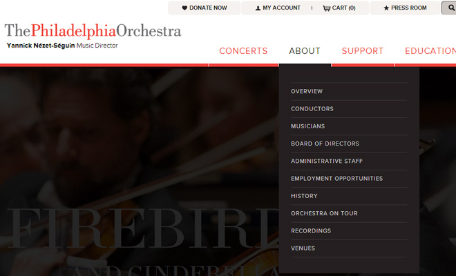 main website navigation philadelphia orchestra