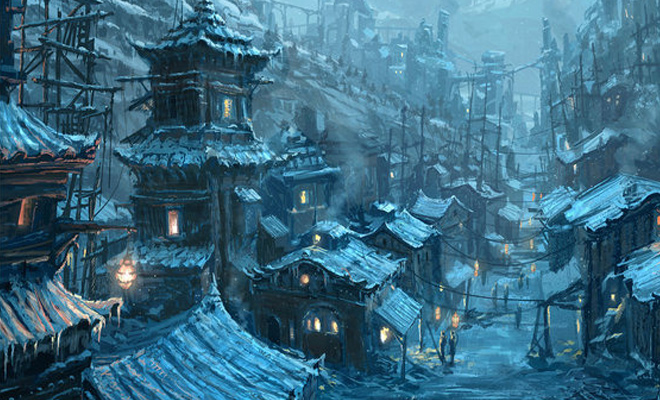 chinese village illustration design concept artwork