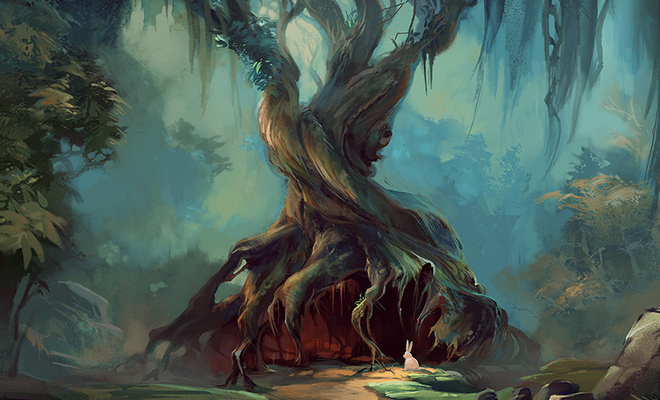 photoshop illustration twisted tree forest
