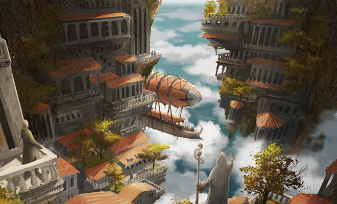 floating sky city illustration concept artwork