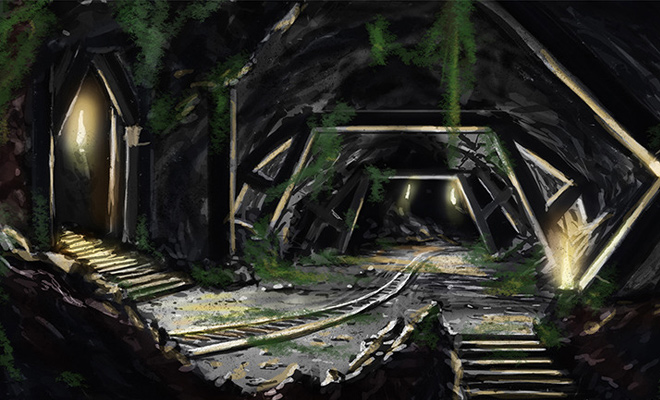 abandoned mine artwork concept video game