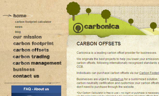 carbonica sidebar menu links navigation