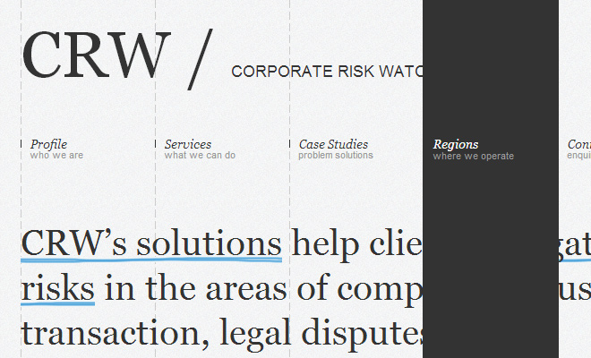 corporate risk watch website navigation layout