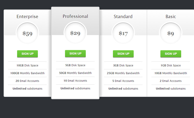 pricing table open source css3