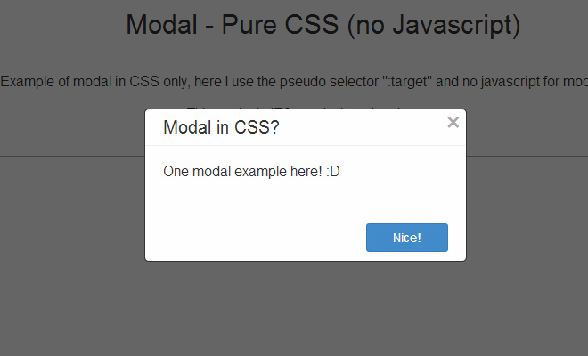 modal windows only css open source
