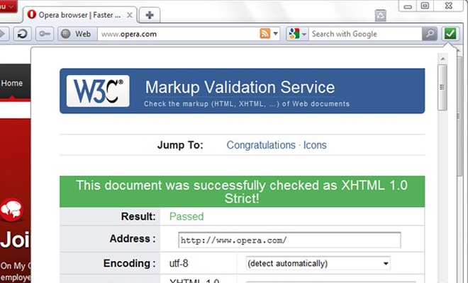 w3c validator html opera browser extension
