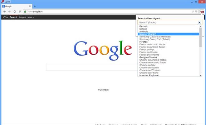 user agent switcher opera browser extension