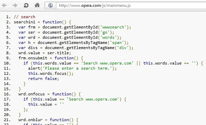 opera view source syntax dom website development extension