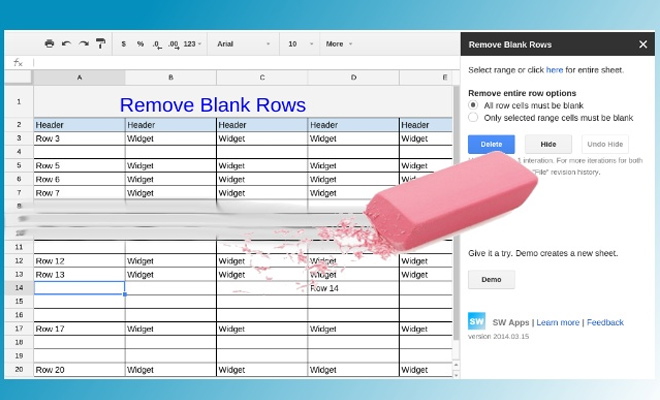 remove blank rows spreadsheet google drive addon