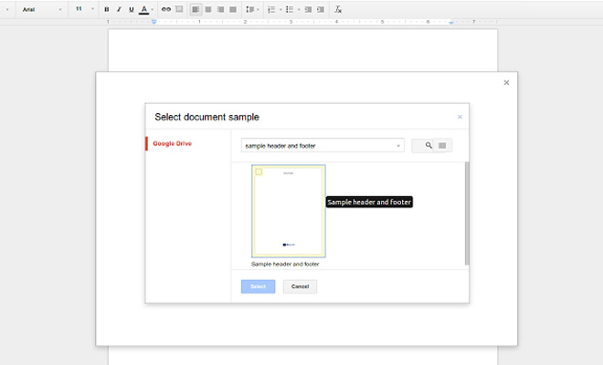 google drive docs header footer document add-on