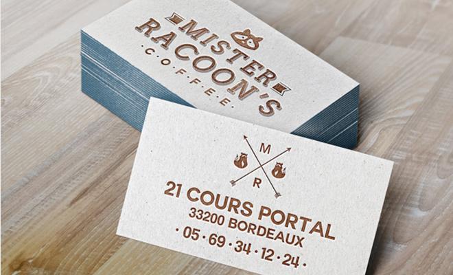 mister racoon coffee logo branding print work