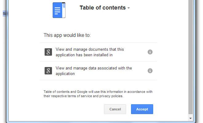 google drive addon accept decline message ui