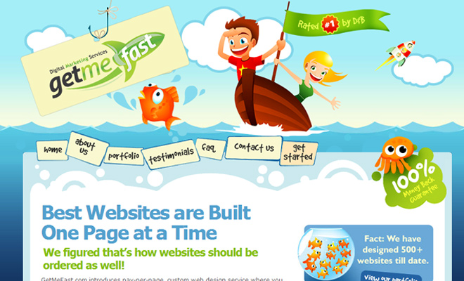 getmefast get me fast vector website layout