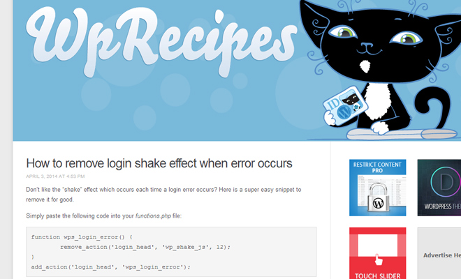 wp wordpress recipes snippets code