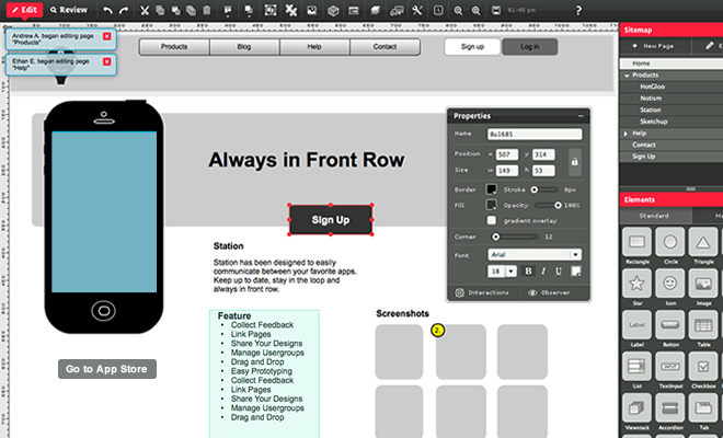hotgloo wireframe toolkit website webapp prototyping