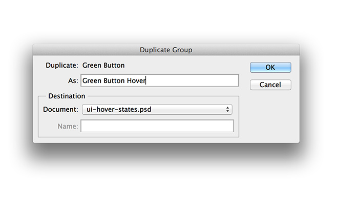 button group duplicate photoshop screen dialog