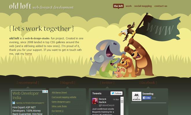 old loft web design agency website layout