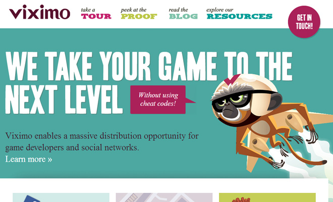 viximo website vector artwork website game developers