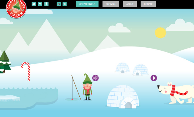 create your elf website layout flash vectors