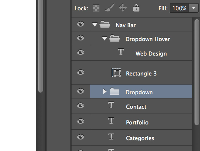 photoshop nav menu dropdown layers organized groups