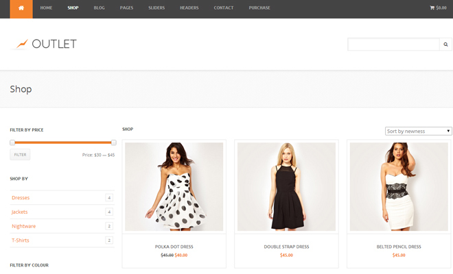 outlet responsive woocommerce theme wordpress