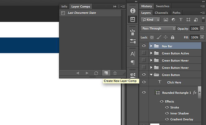 create new layer comp photoshop dialog