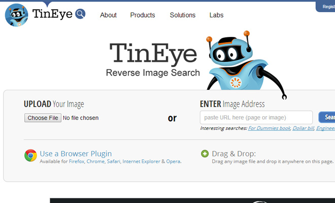 tineye website vector robot icon design
