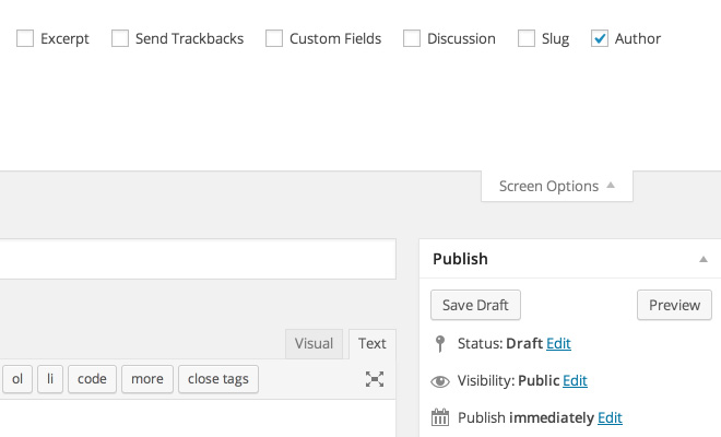 wordpress 3.9.1 new post screen options screenshot