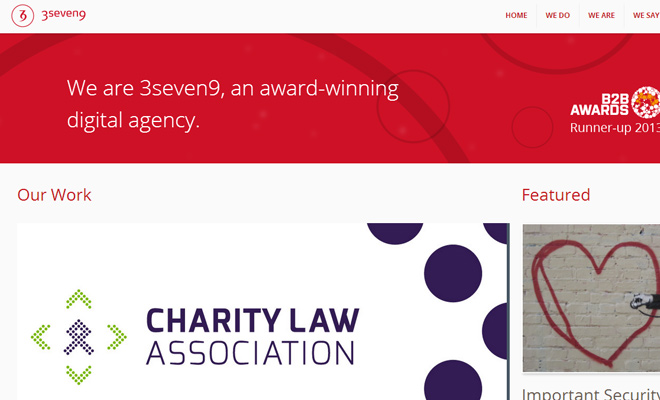 3seven9 red agency website layout responsive