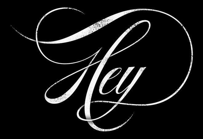 fancy text hey written script typography
