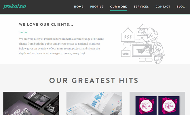 peekaboo design agency website responsive