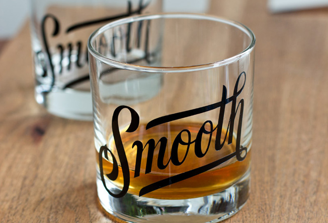 smooth script text drinking liquor glass